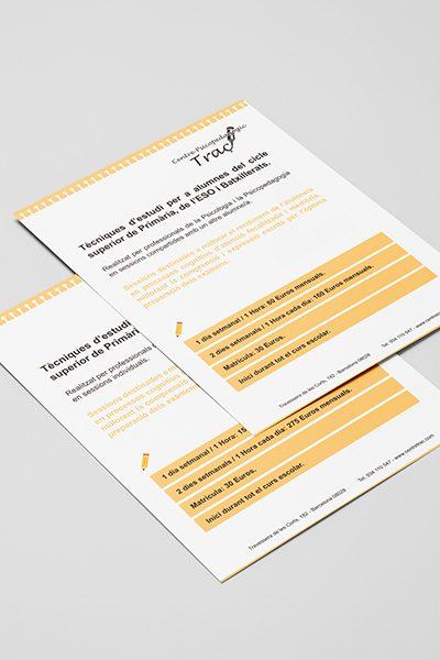 Diseño editorial de folletos informativos para Centre Psicopedagògic Traç Barcelona.